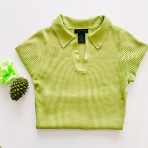 EUC 🍀 silk polo shirt in grass green